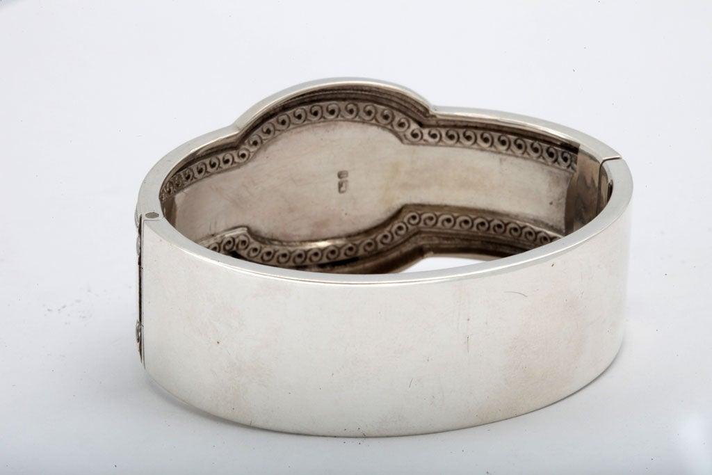 Unusual Victorian Sterling Silver Etched Bangle Bracelet image 9