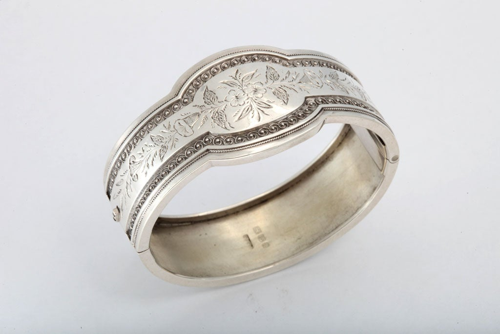 Unusual Victorian Sterling Silver Etched Bangle Bracelet image 2