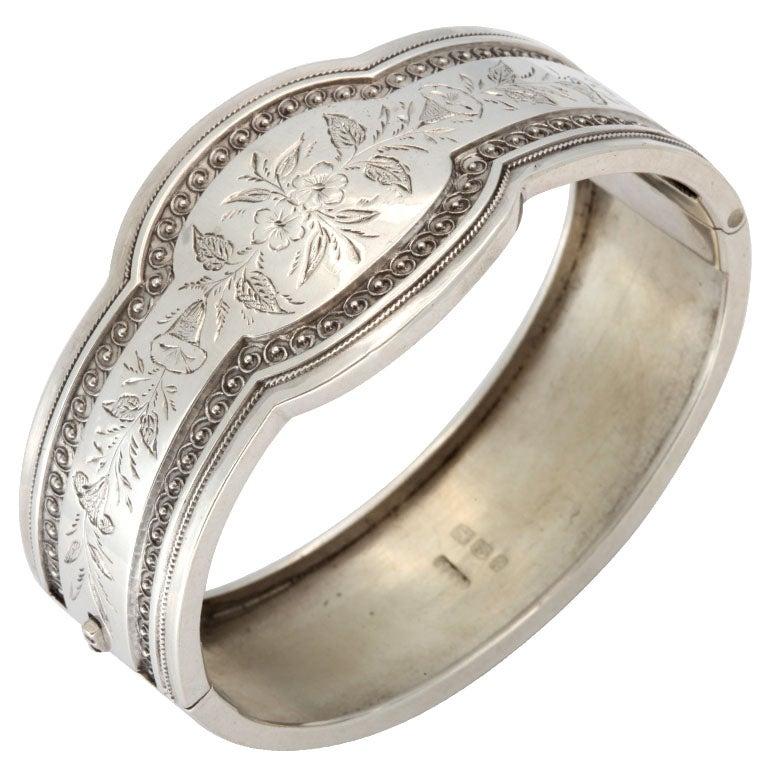 Unusual Victorian Sterling Silver Etched Bangle Bracelet