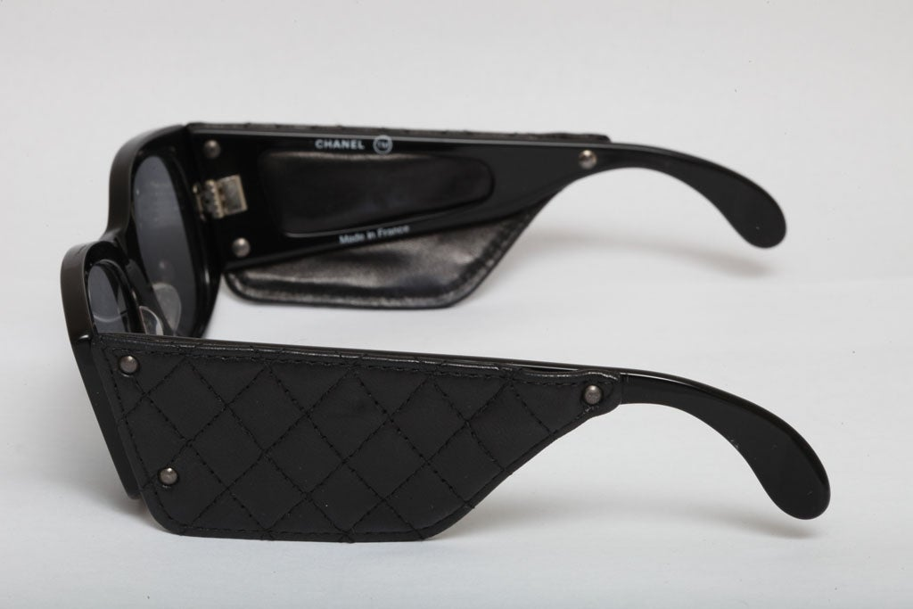 Vintage Chanel Quilted Leather Sunglasses 3
