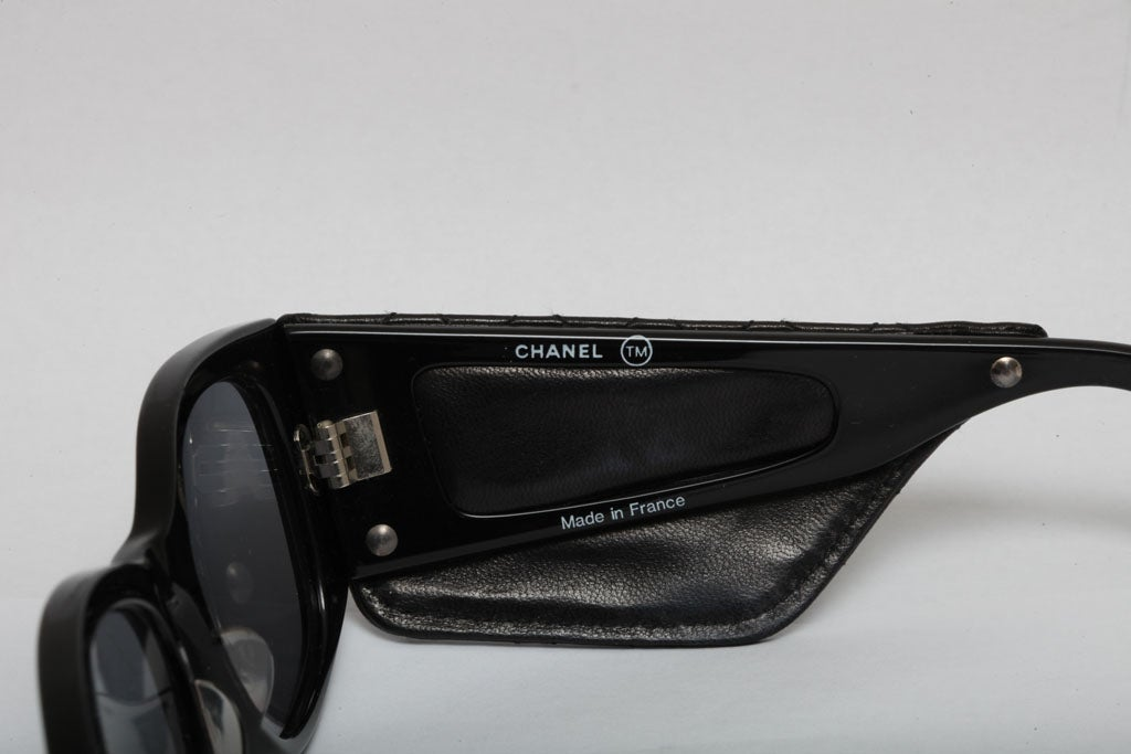 Vintage Chanel Quilted Leather Sunglasses 4