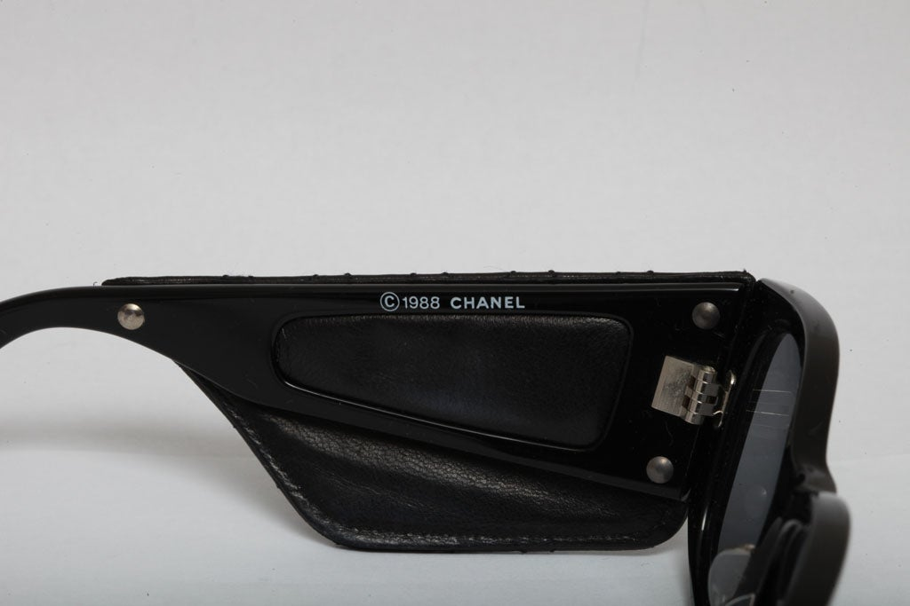 Vintage Chanel Quilted Leather Sunglasses 5
