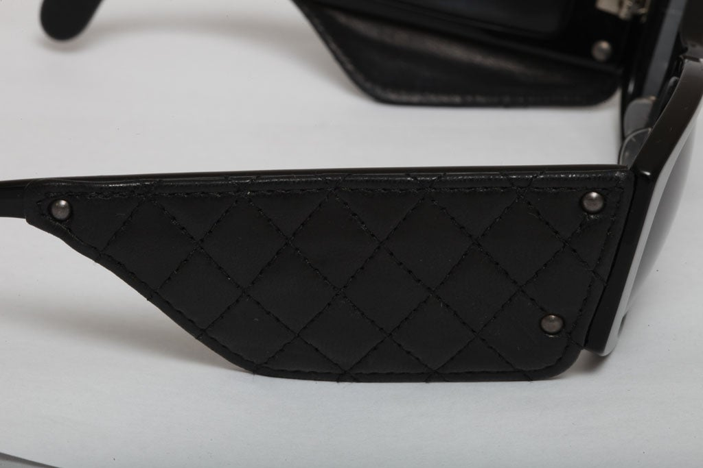 Vintage Chanel Quilted Leather Sunglasses 6