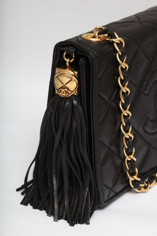 CHANEL BLACK QUILTED BAG WITH TASSEL 4
