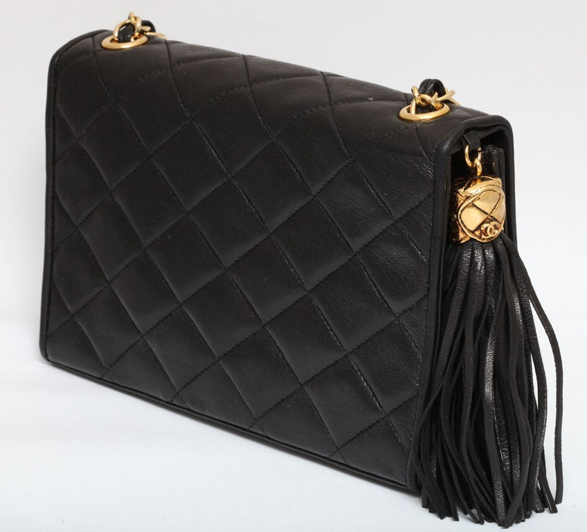 CHANEL BLACK QUILTED BAG WITH TASSEL 5