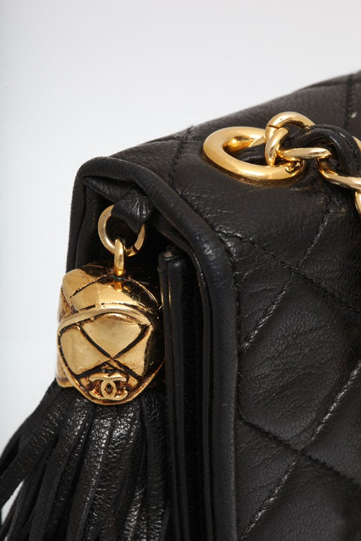 CHANEL BLACK QUILTED BAG WITH TASSEL 7