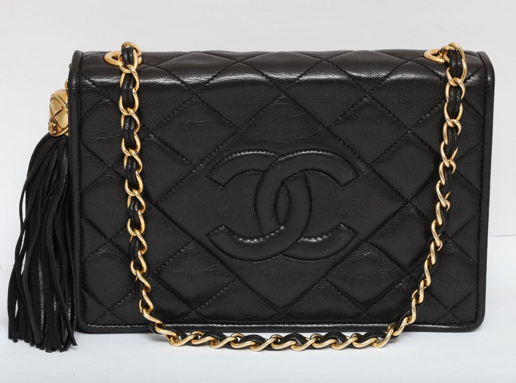 CHANEL BLACK QUILTED BAG WITH TASSEL 2