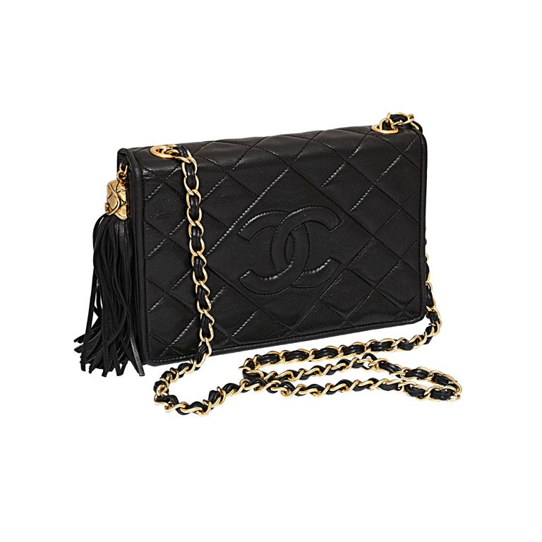 CHANEL BLACK QUILTED BAG WITH TASSEL 1