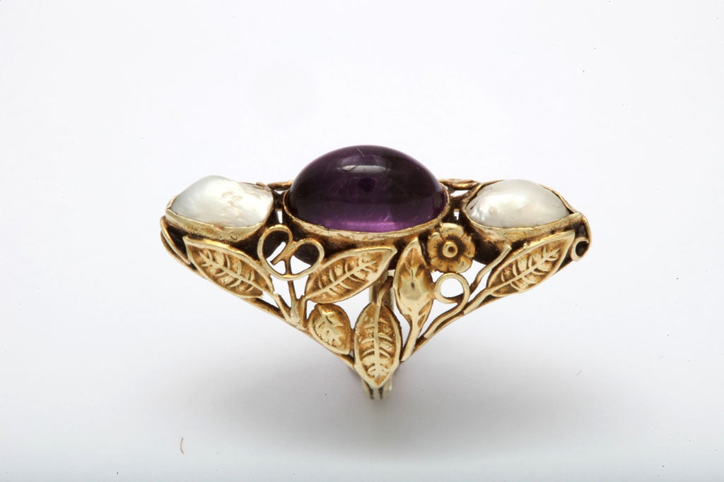 Art Nouveau Pearl & Cabochon Amethyst Ring 3