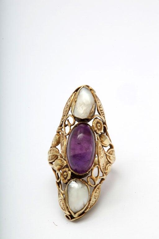 Art Nouveau Pearl & Cabochon Amethyst Ring 5