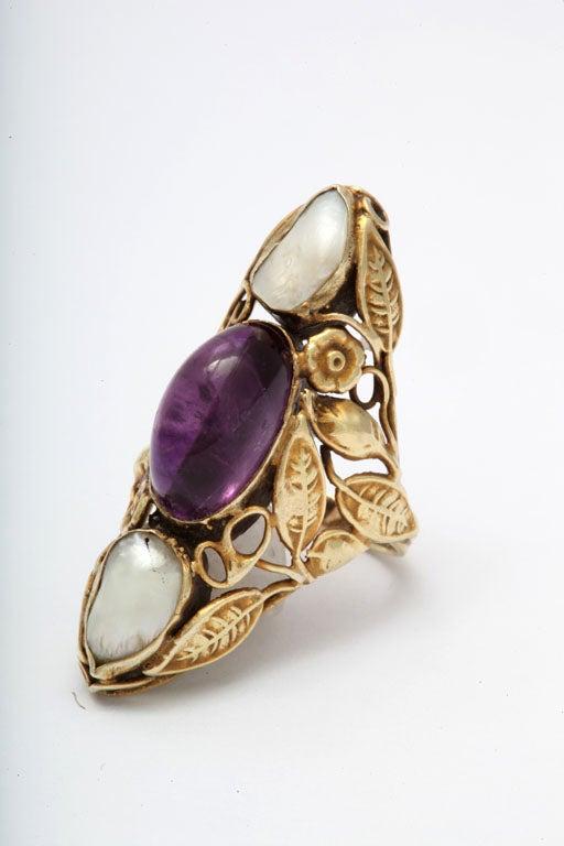 Art Nouveau Pearl & Cabochon Amethyst Ring 6