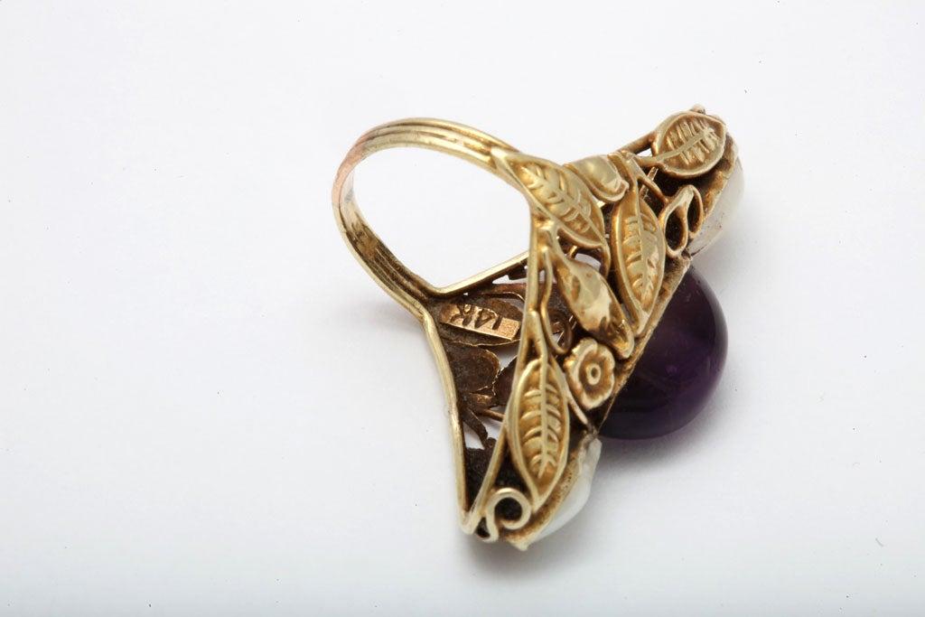 Art Nouveau Pearl & Cabochon Amethyst Ring 7
