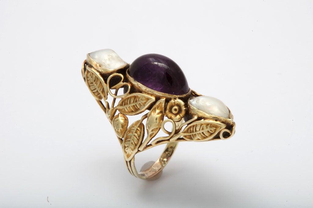 Art Nouveau Pearl & Cabochon Amethyst Ring 2