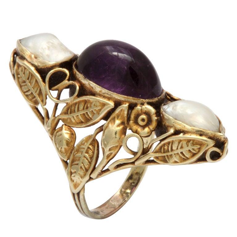 Art Nouveau Pearl & Cabochon Amethyst Ring 1
