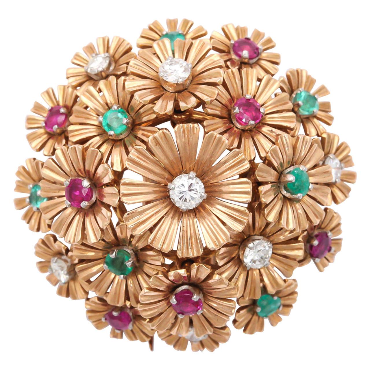 Ruby Diamond & Emerald Tremblant Clip
