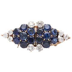 Sapphire & Old Mine Diamond Clip