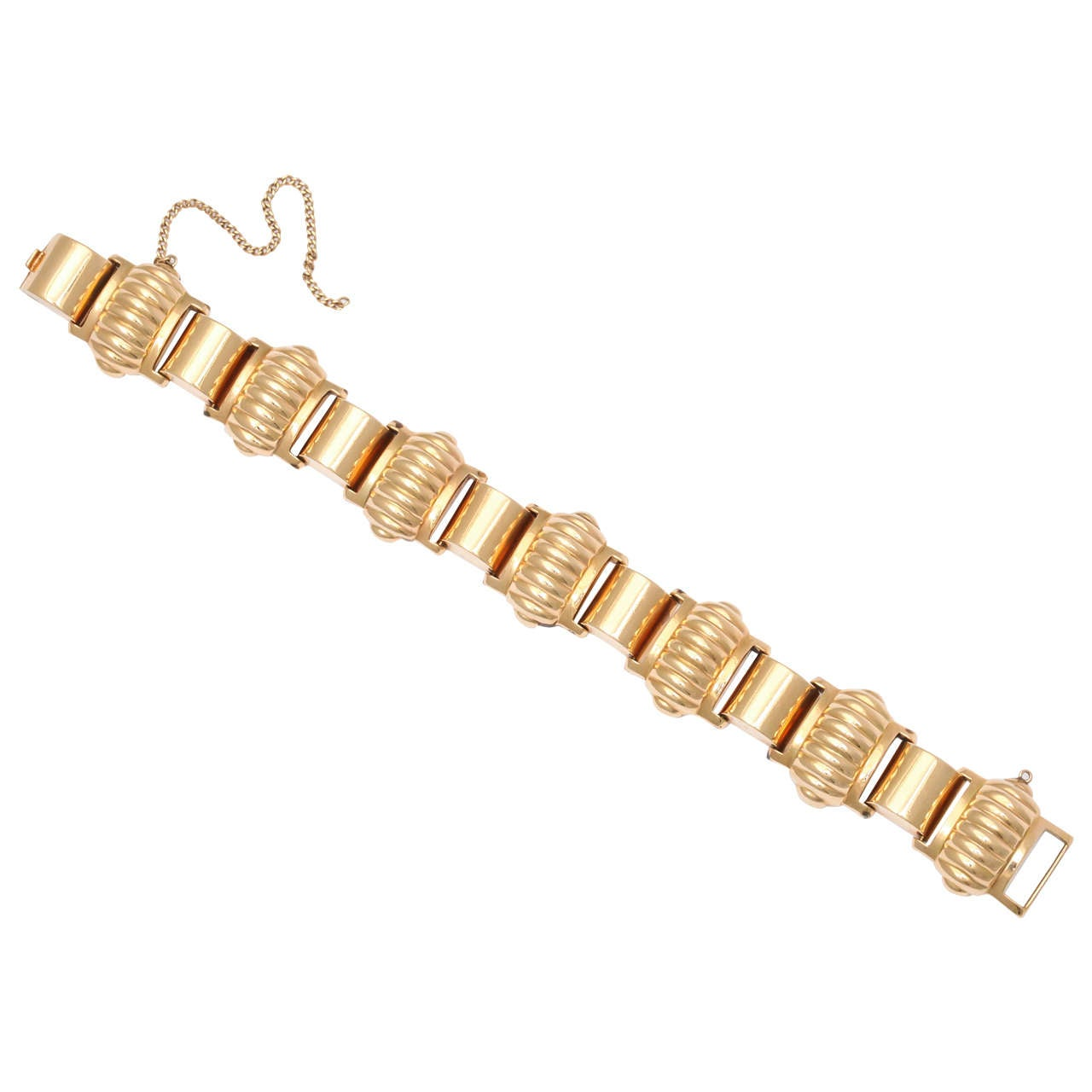 Yellow Gold Melon Shaped Bracelet