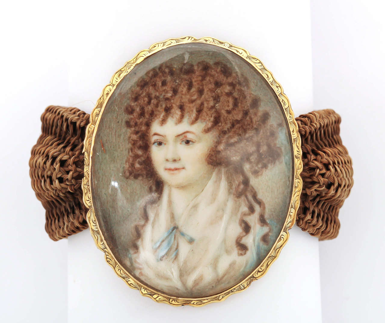 Miniature Portrait Yellow Gold Woven Band Bracelet 2
