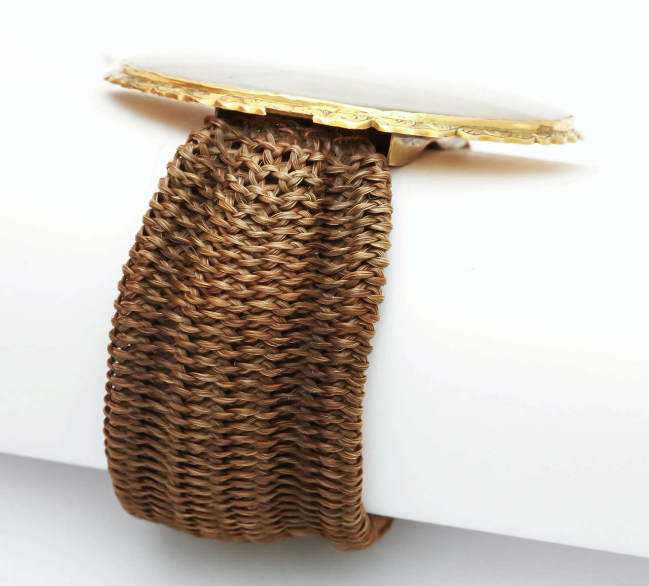 Miniature Portrait Yellow Gold Woven Band Bracelet 5