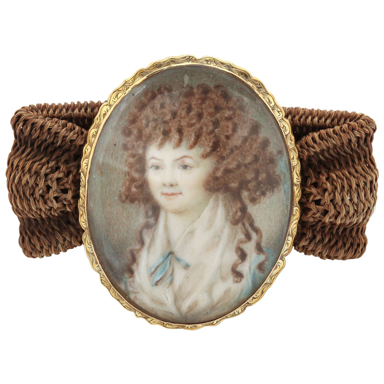 Miniature Portrait Yellow Gold Woven Band Bracelet 1