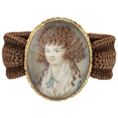18 kt Miniature Portrait  Bracelet, 18th Century