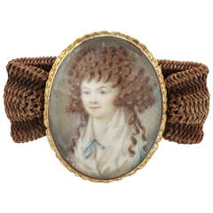 Miniature Portrait Yellow Gold Woven Band Bracelet