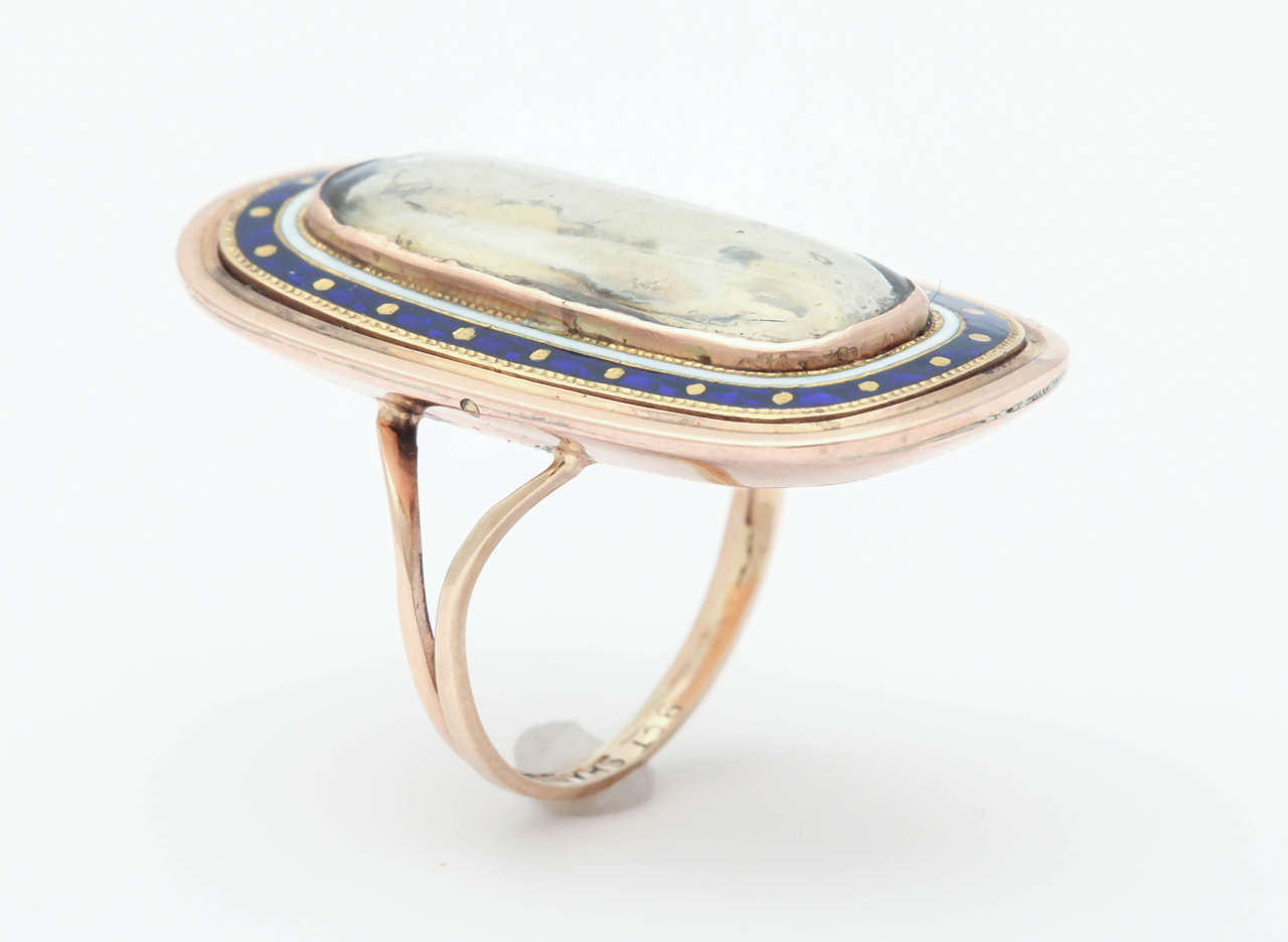 Women's or Men's Antique Georgian Enamel Gold Memorial Ring Symbolizes Remember Me For Sale