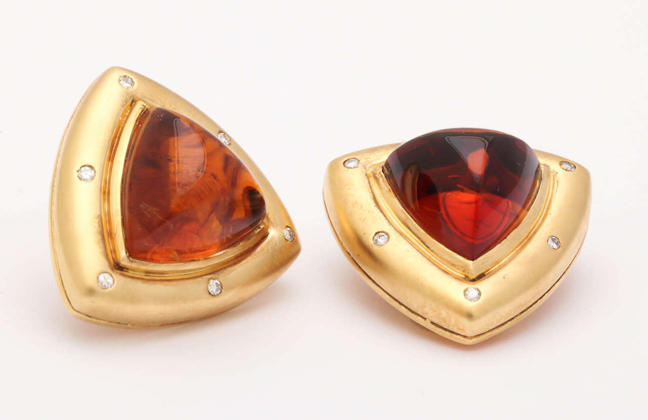 Contemporary Gold Clip Earrings With Diamondadeira Citrine Cabochons For
