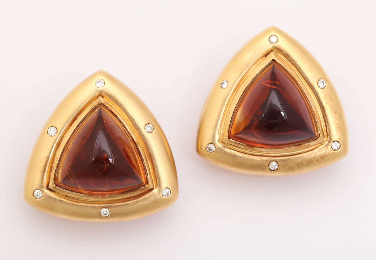 Gold Clip Earrings With Diamonds And Madeira Citrine Cabochons 4