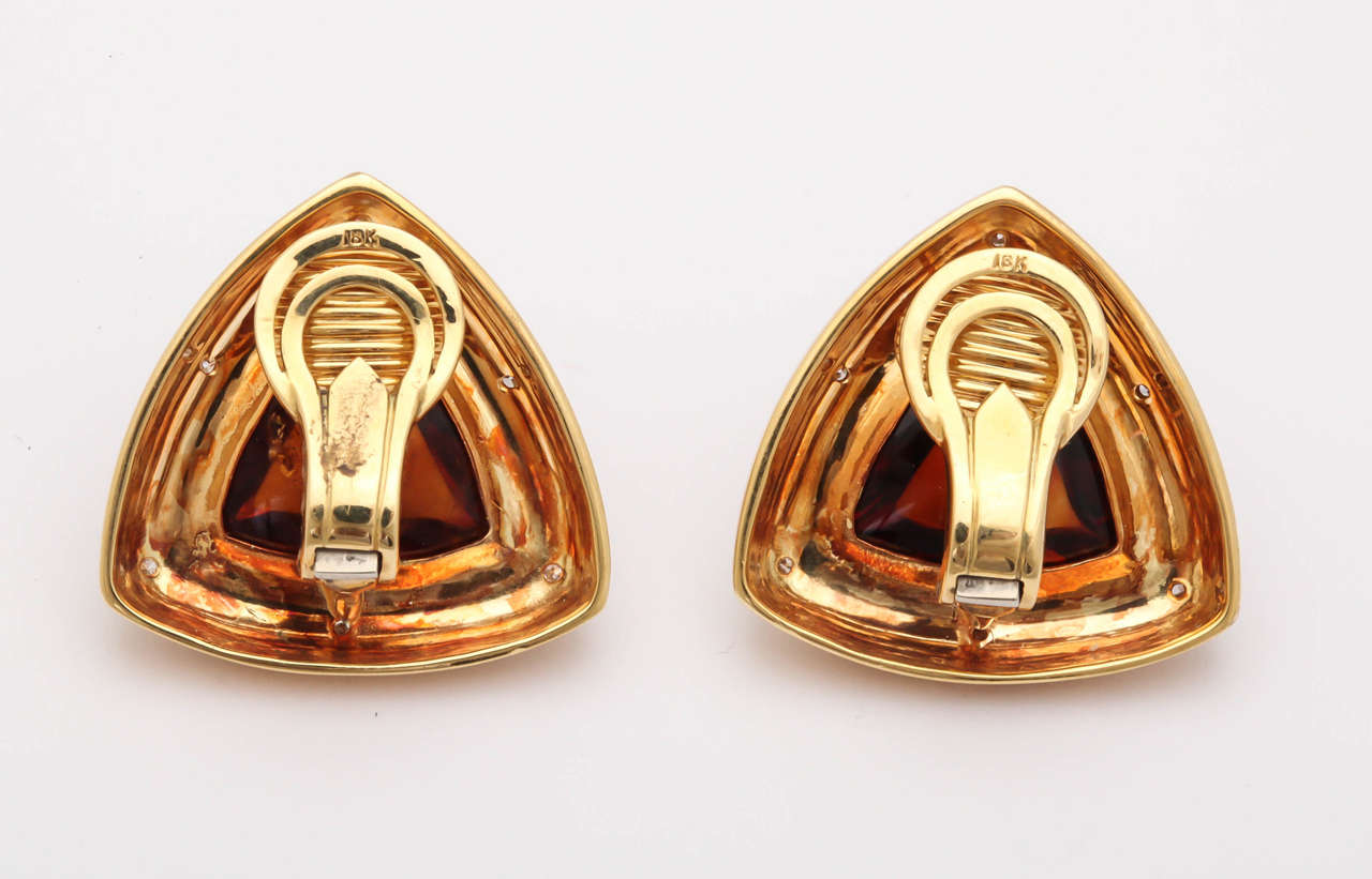 Gold Clip Earrings With Diamonds And Madeira Citrine Cabochons 5