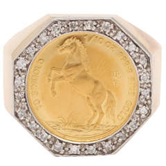Gold Horse Coin Ring