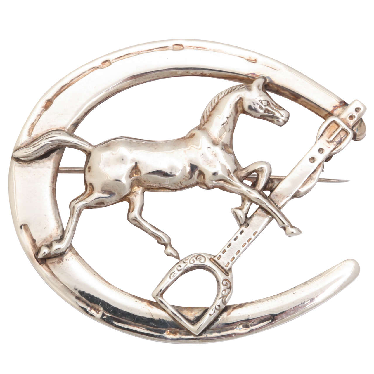 Sterling Horse Shoe Equestrian Brooch
