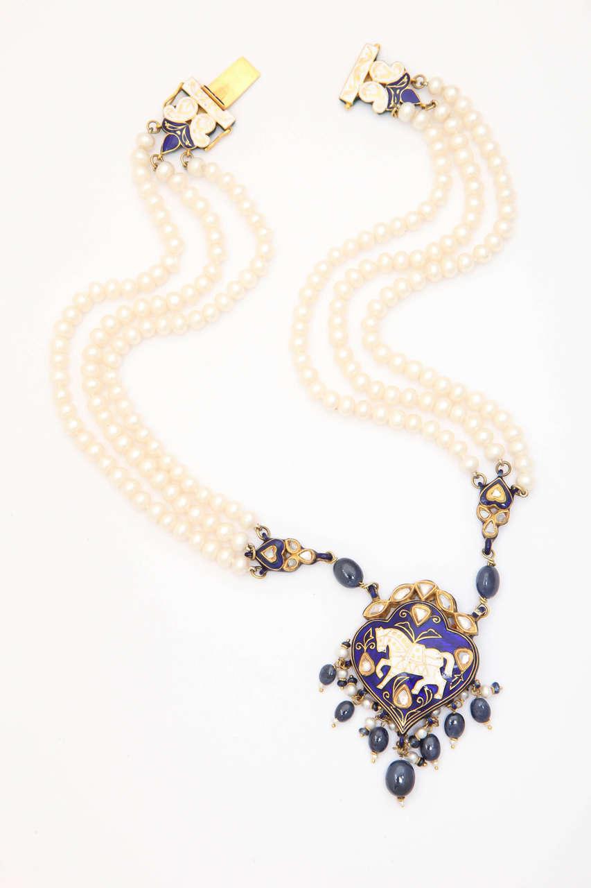 Enamel Pearl Sapphire Bead Horse Necklace 2