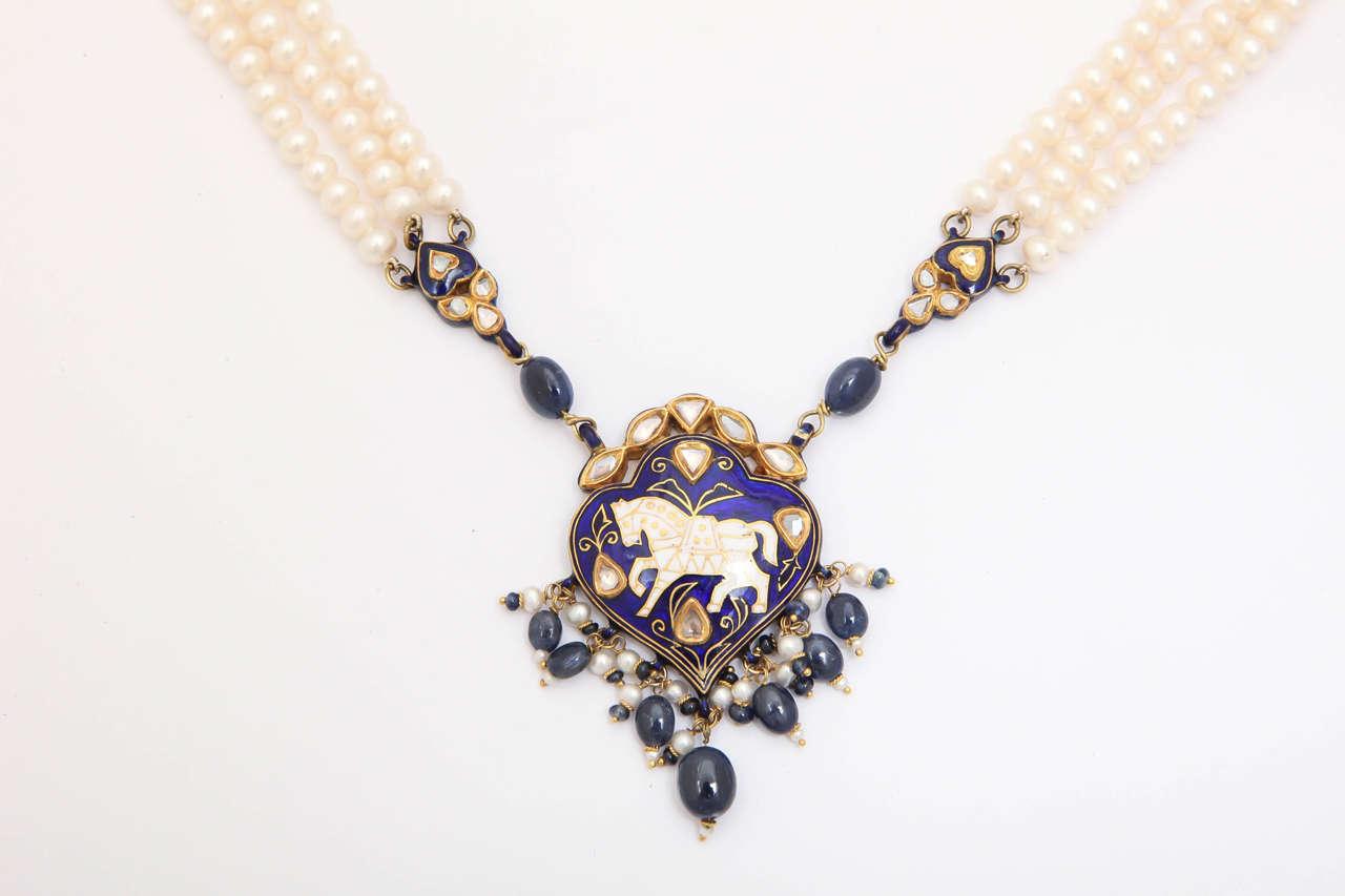 Enamel Pearl Sapphire Bead Horse Necklace 3