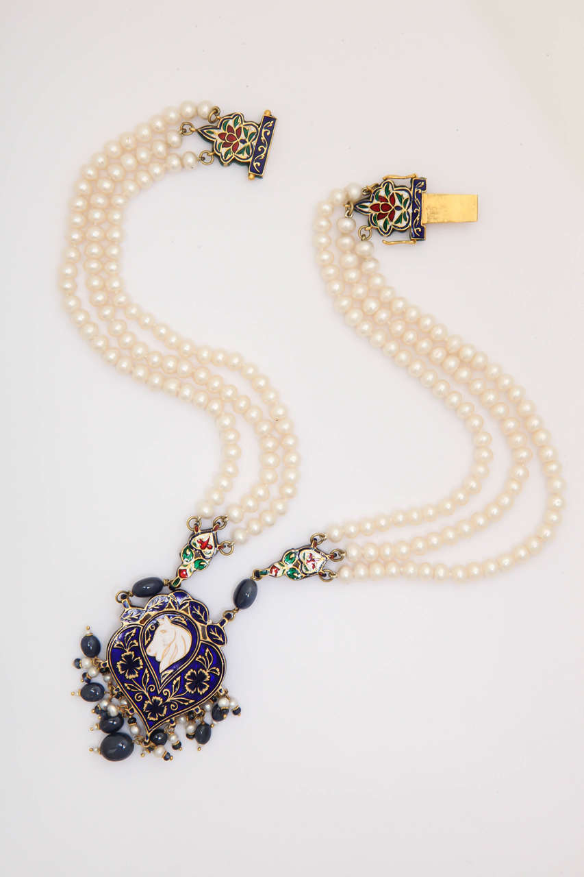 Enamel Pearl Sapphire Bead Horse Necklace 4
