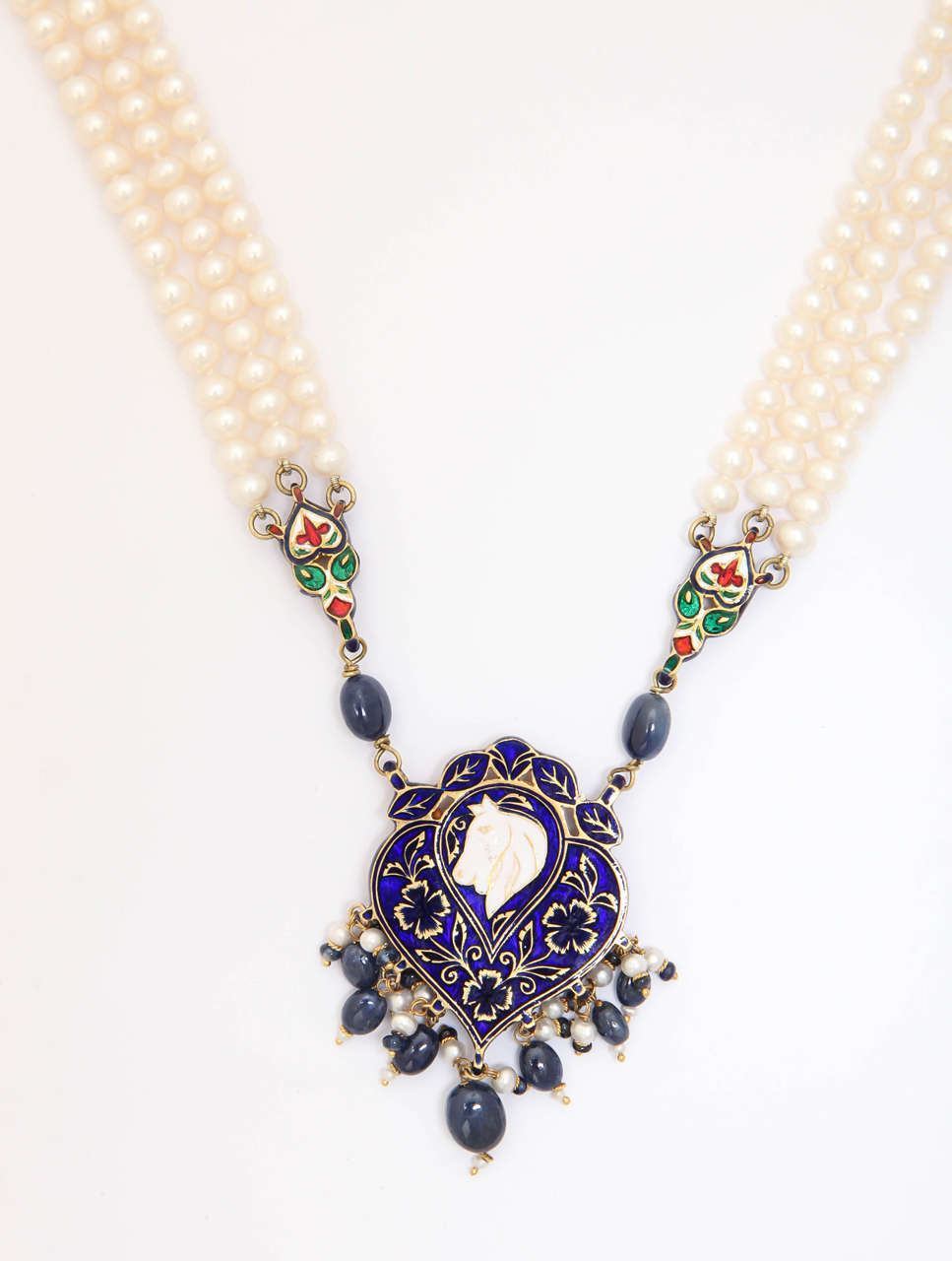 Enamel Pearl Sapphire Bead Horse Necklace 5