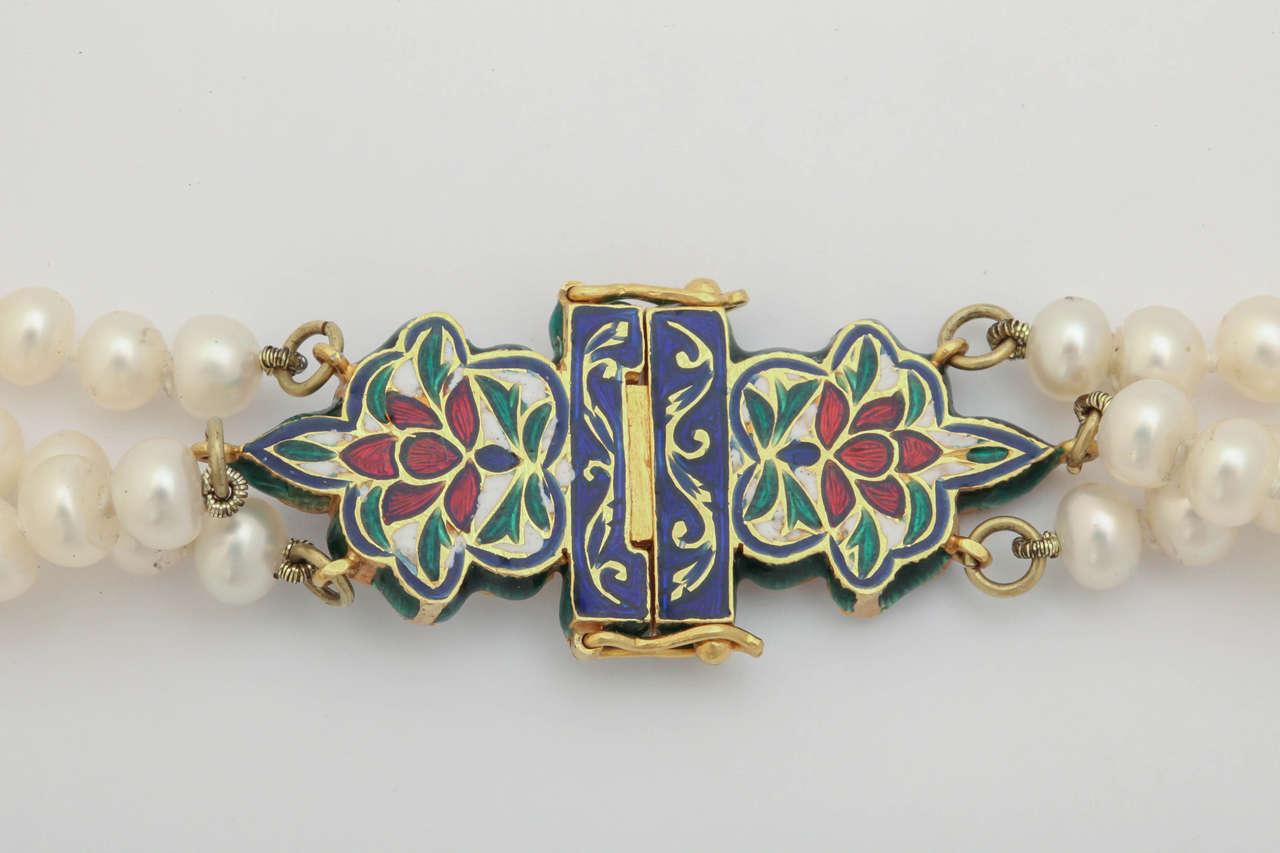 Enamel Pearl Sapphire Bead Horse Necklace 7