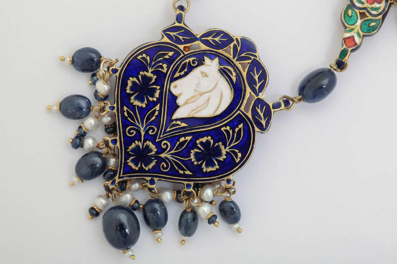 Enamel Pearl Sapphire Bead Horse Necklace 10
