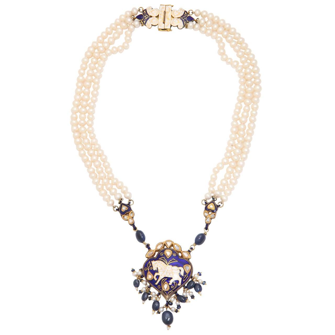 Enamel Pearl Sapphire Bead Horse Necklace