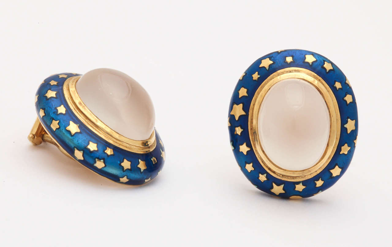 Enamel Moonstone Gold Clip Earrings In As new Condition For Sale In TRYON, NC