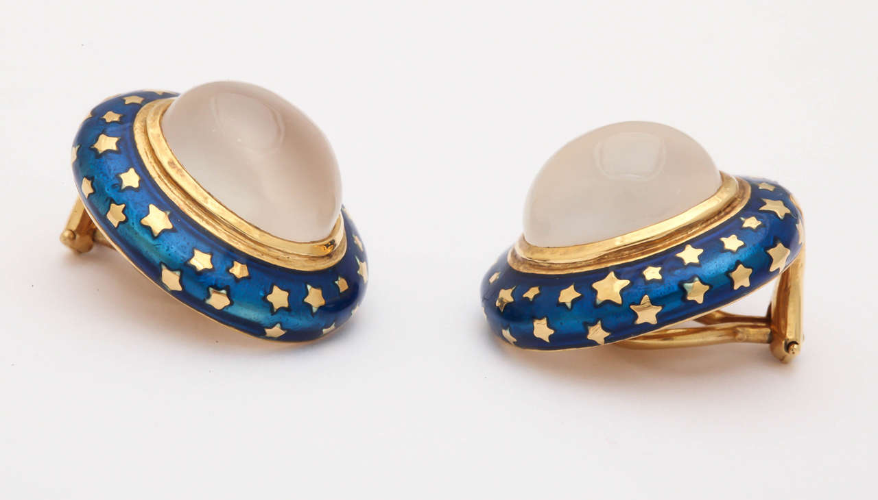 Women's Enamel Moonstone Gold Clip Earrings For Sale