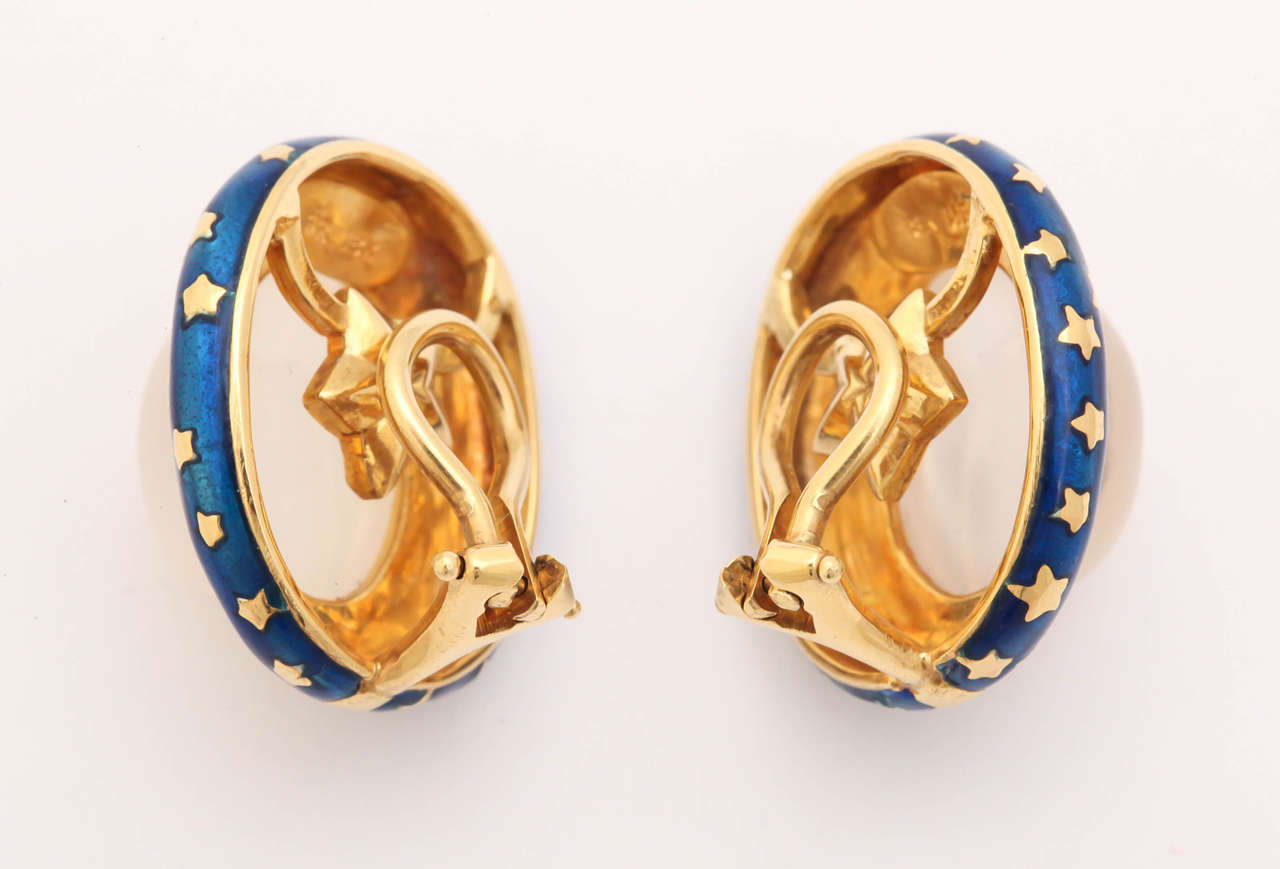 Enamel Moonstone Gold Clip Earrings For Sale 1