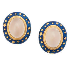 Enamel Moonstone Gold Clip Earrings
