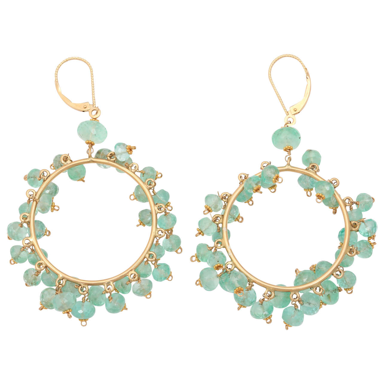 Impressive Emerald Bead Gold Hoop Earrings