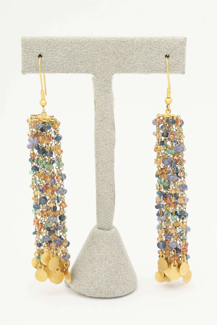 Tanzanite Sapphire Gold Beaded Chain Chandelier Earrings 2