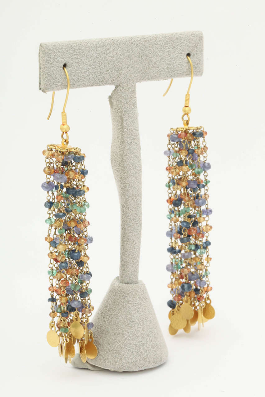 Tanzanite Sapphire Gold Beaded Chain Chandelier Earrings 3