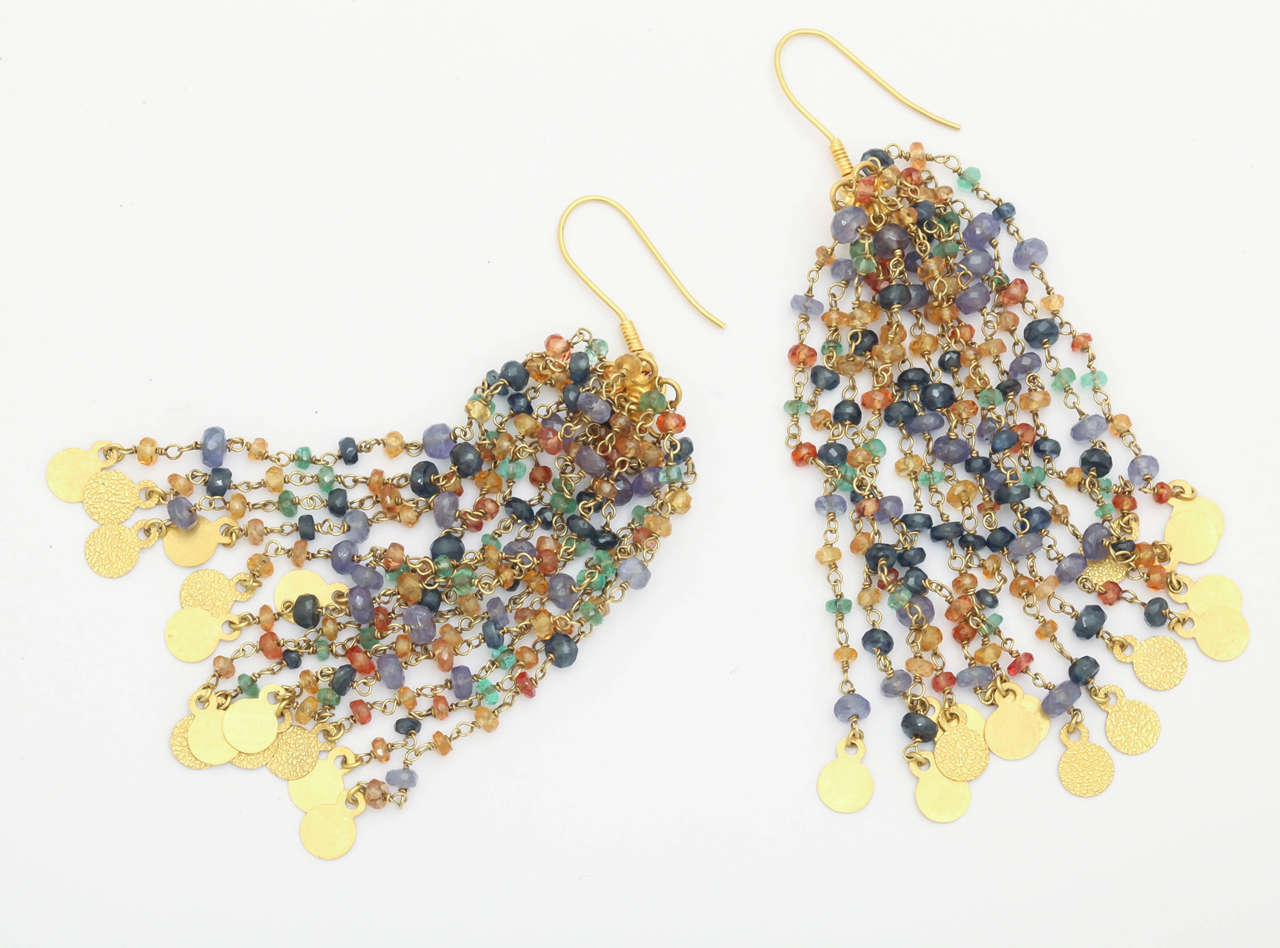 Tanzanite Sapphire Gold Beaded Chain Chandelier Earrings 4