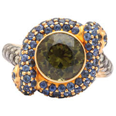 Green Tourmaline Sapphire Diamond Gold Knot Ring
