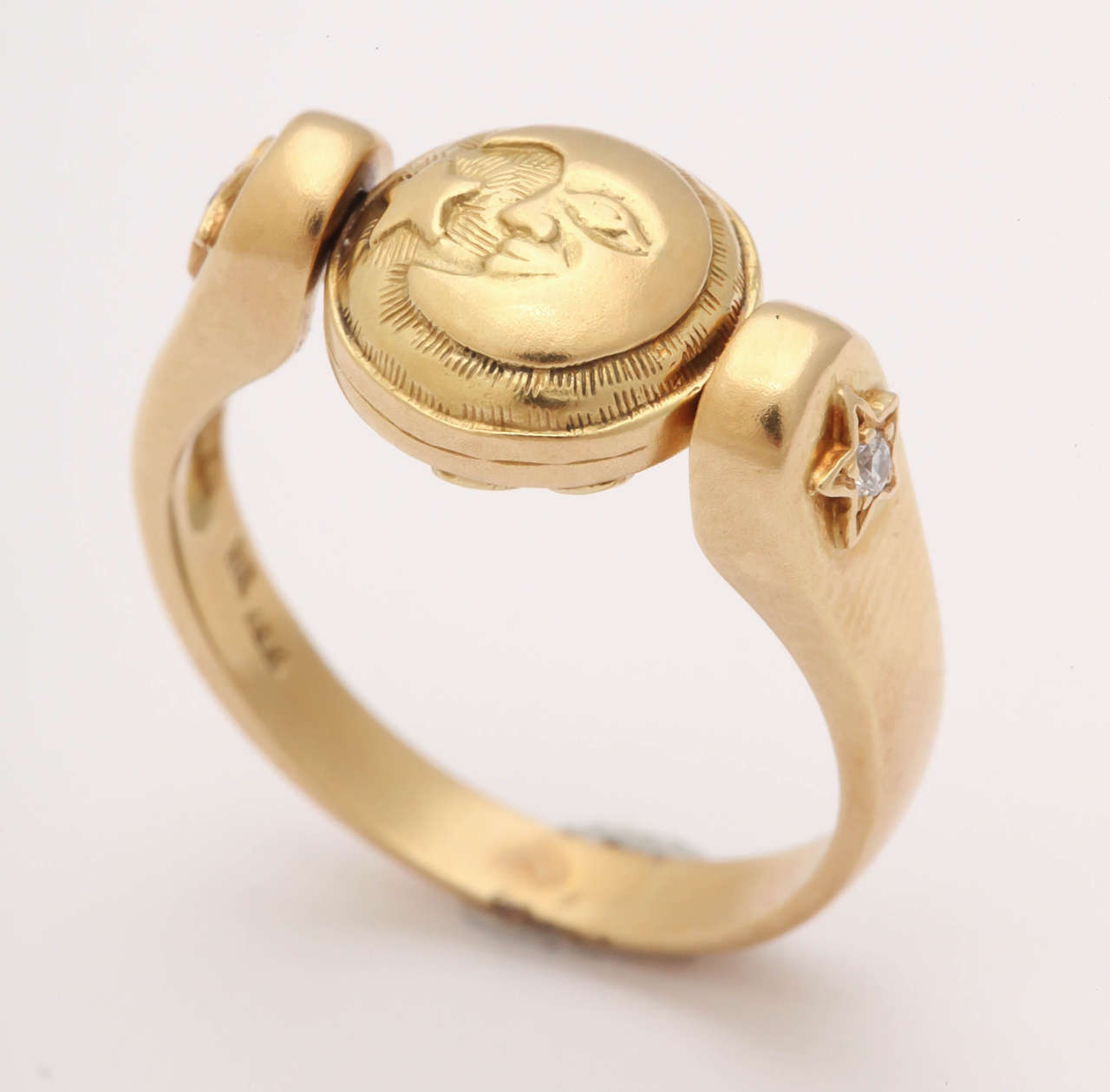 Gold Sun/Moon Swivel Ring 4