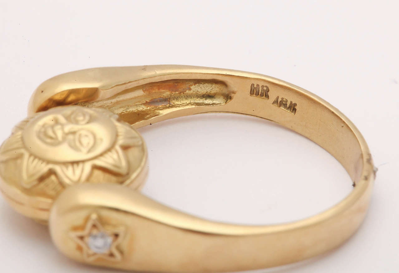 Gold Sun/Moon Swivel Ring 5